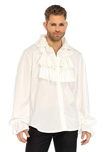 Männer Historische Kostüm - LEG AVENUE 86688 - Ruffle front shirt Männer Kostüm Weiß, X-Large (EUR 42)