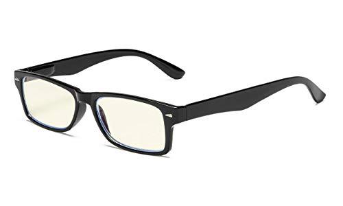 Eyekepper-Computer UV-Schutz der Leser, Blendschutz,Anti Blau Strahlen lesen Gläser (schwarz/hellgelb getönte Linse) +1.50