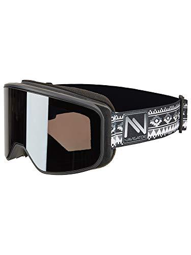 NAVIGATOR Powder Skibrille/Snowboardbrille, nahezu Rahmenlos, Doppellinse, AntiFog Beschichtung, UVA Schutz, Wintersport Brille m. verspiegelten Gläsern, für Skihelme geeignet, div. Farben (GRAU)