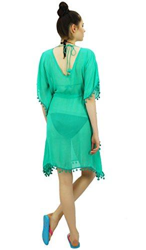 Bimba Costume Da Bagno Delle Donne Cover Up Georgette Dello Swimwear Del Bikini Tunica Sheer Verde
