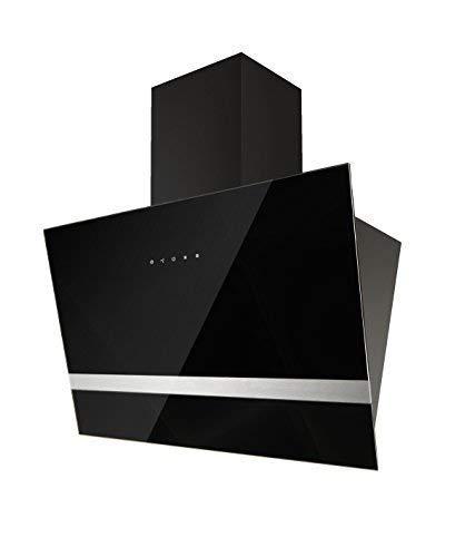 respekta Design kopffreie Schräghaube Dunstabzugshaube Abzugshaube Wandhaube Glas 60 cm schwarz Touch Control / 3 Leistungstufen / Abluft und Umluft / LED …