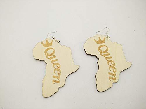 BQZB Ohrring 1 Paar afrikanische Karte lasergeschnitten Königin Mode beliebte Holz earingsfor Frauen