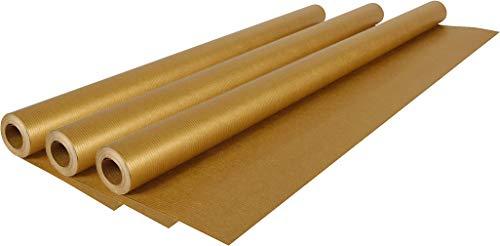 Clairefontaine Kraftpapier für Geschenke und zum Basteln, Rolle 10 x 0,70m, 70 g/m² (Gold, 3 Rollen 10 x 0,70m)