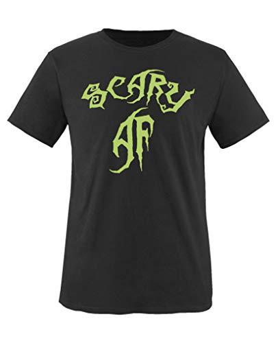 Comedy Shirts - Scary Af - Halloween - Mädchen T-Shirt - Schwarz/Grün Gr. 110-116