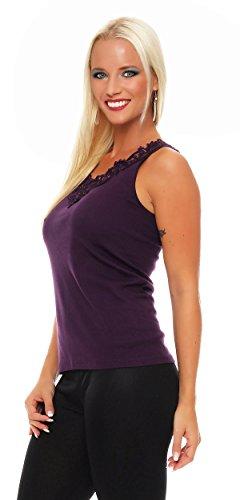 Hochwertiges Damen Träger-Top mit großer Spitze Nr. 416 (Oberteil / Unterhemd / Träger-Shirt) 100% Baumwolle ( Violett / 56/58 ) - 2