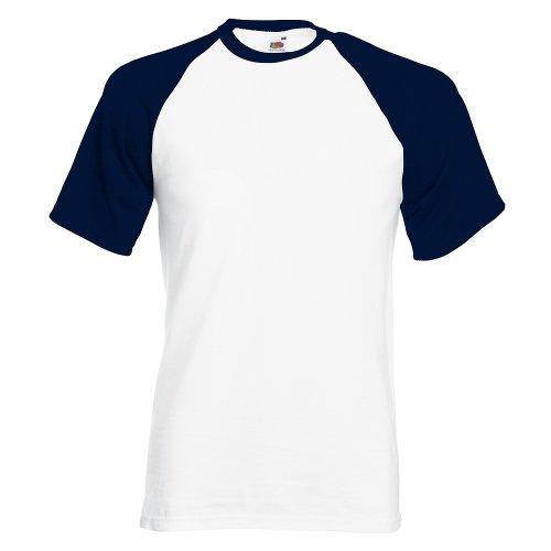 Shortsleeve Baseball T-Shirt von Fruit of the Loom S M L XL XXL verschiedene Farben XXL,Weissdeepnavy