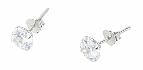 niceeshop(TM) 1 Pair Sterling Silver 6MM Round Cubic Zirconia Anti allergic Crystal Stud Earrings-White