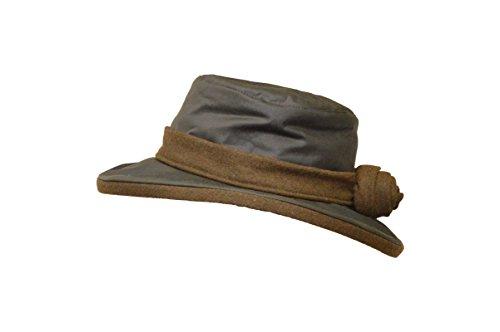 Walker & Hawkes - Ladies Wax Windsor Rose Hat Wide Brim with Flower - Olive