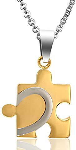 Men Love Autism Awareness Puzzle Convex Heart Stainless Steel Pendant Necklace Gold Aooaz Jewelry