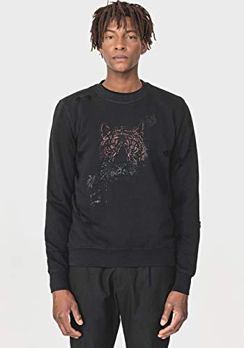 Antony Morato 0589 Sweatshirt aus Baumwolle mit Mikro-Noppen, Tiger-Detail Gr. Large, Schwarz