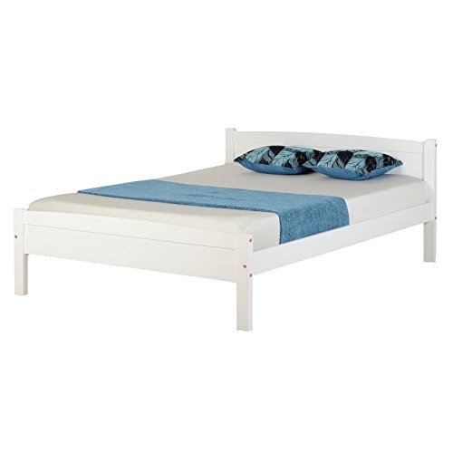 Seconique Amber Wooden Bed Frame, 4ft 6in Double Bed Frame, White