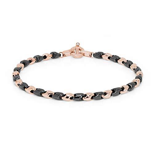 Baraka\' Herren Armband aus Roségold und schwarz Keramik mit Diamant - Made in Italy - Größe 20