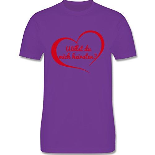 Valentinstag - Willst du mich heiraten? Herz - Herren Premium T-Shirt Lila
