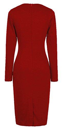 HOMEYEE - Robe - Moulante - Collier élégant Manches Longues - Femme B10 Rouge