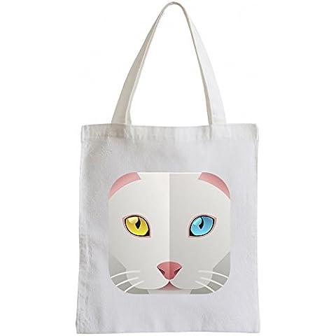 Raxxpurl Icon Cat verde e con gli occhi azzurri Fun sacchetto di iuta