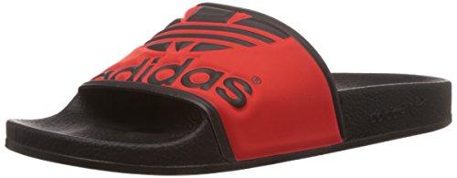 Adidas originals adilette trefoil, ciabatte da spiaggia/piscina unisex – adulto, nero (core black/red/core black), 39 1/3