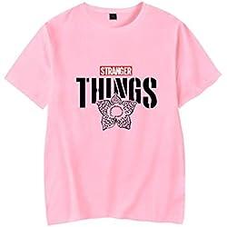 Stranger Things Camiseta Stranger Things Nueva Temporada Personaje de Dibujos Animados Impreso Verano Top-A14449-Rosa-XS