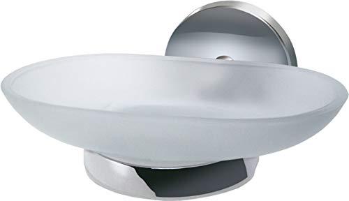 Fackelmann Ablageschale VISION, Seifenschale mit verchromtem Halter, Seifenhalter aus Glas (Farbe: Silber/Milchig), Menge: 1 Stück -