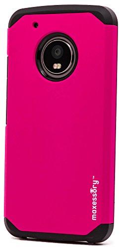 Moto G5, maxessory [Globetrotter] Plus Schweren schützende Hybrid Cover w/strapazierfähigem Stoßdämpfendem bchiea Schutzhülle Tough Hard Shell Armor Eltern für Motorola Moto G5Plus, Hot Pink
