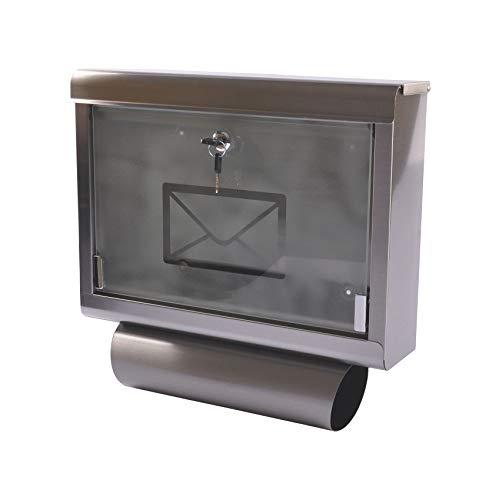 Buri Edelstahl Wandbriefkasten mit Zeitungsrolle Postkasten Briefkasten Zeitungsfach