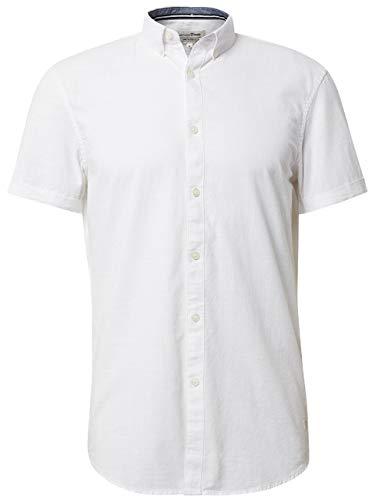 TOM TAILOR Denim Herren Kurzarmhemd Freizeithemd, Weiß (White 20000), Herstellergröße: XX-Large