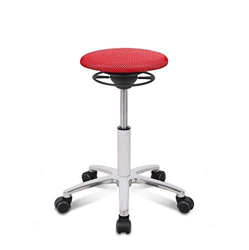 BALIMO ROLL, Bürohocker, Sitzhocker, ergonomischer Rücken-Trainer, Bezug rot