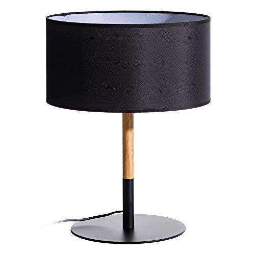 LOLAhome Lámpara de Mesa nórdica de Madera y Metal Negra de 47 cm