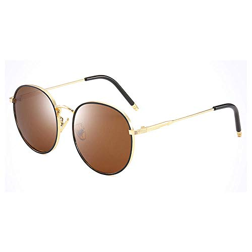 PPOEEWF Polarisierte Sonnenbrille, Neue koreanische runde Fassung, Damen, polarisierte Sonnenbrille, UV-Schutz, Damenbrille, Brille @ a1