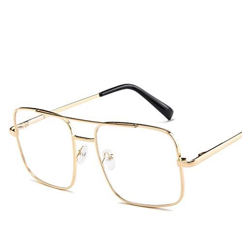 Fashion Square Sonnenbrille Männer Übergröße Fahren Coole Sonnenbrille Männlich Retro Vintage Übergröße Shades Weiblich Eyewear (Lenses Color : Gold Clear)