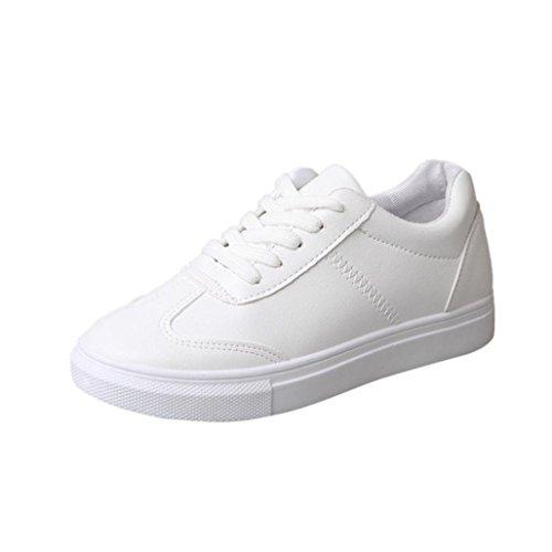 Zapatos de mujer Zapatos blancos planos de primavera / otoño para mujer Zapatos de viaje casuales Deportes Running Zapatillas de deporte transpirables LMMVP (37(CN), Blanco)