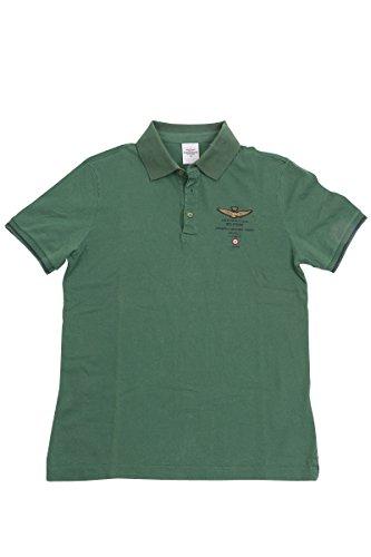 Aeronautica Militare Herren Poloshirt, einfarbig Grün