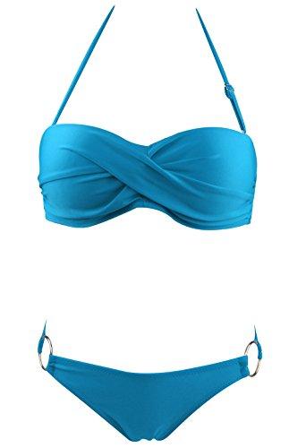 Le World Maillots de Bain Femmes, Sexy Bikini Maillots de Bain Réglable Halter Bandage Tankinis Top Rembourré et Brief Bottom 2 Pièces Maillots de Bain Bleu