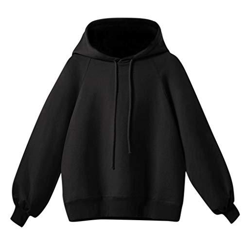 Damen Pullover, HUIHUI Kapuzenpullover Tunnelzug Langarm Pullover Hoodie Sweatshirt Damen Bauchfrei Kaschmir Pullover Elegant T-Shirt Blouse Tops (Schwarz,S (EU:32-34)) -