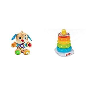 Fisher-Price Perrito Primeros descubrimientos, Juguete bebé +6 Meses (Mattel FPM53) + FHC92 Pirámide balanceante, Juguete para bebé +6 Meses