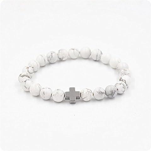 kingko® Perlenschmuck Perlen Lava Gallenstein Kreuz Armband Party Geschenk Yoga Schmuck (C)