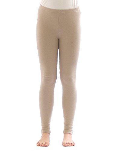 yeset Kinder Mädchen Thermo Leggings Fleece Hose lang Leggins aus Baumwolle beige 158