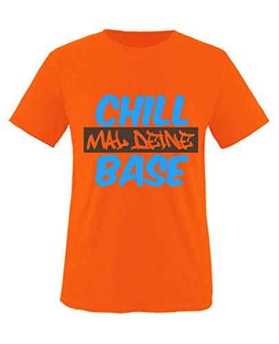 Comedy Shirts - Chill mal Deine Base - Jungen T-Shirt - Orange/Blau-Braun Gr. 152/164 Base-orange-fleece