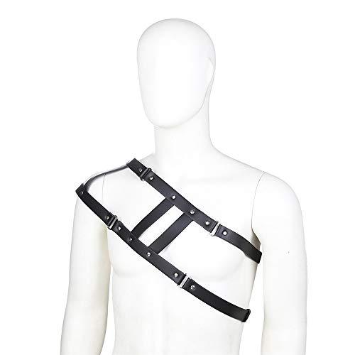 Easy Go Shopping Gothic Punk aushöhlen Caged Belt verstellbare Schnalle Riemen Clubwear Kostüm Herren Leder One Shoulder Brust Half Body Harness Gürtel Gürtel (Farbe : Schwarz, Größe : Free Size) (Halloween Easy-kostüme Einzigartige Für)