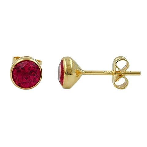 Unbespielt Goldohrringe Ohrschmuck Damen Ohrringe Ohrstecker ca. 6 mm inkl. Schmuckbox synthetisch Rubin aus 333 8 kt Gold 6 mm inkl.