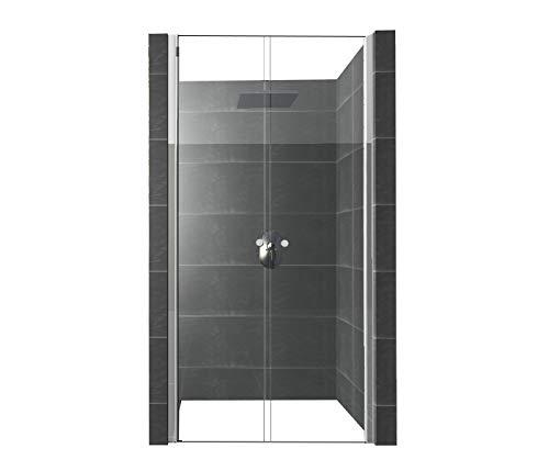 DURASHOWER Duschtür aus ESG Glas 1950 mm x 850 mm - 880 mm x 6 mm nanobeschichtet Duschwand Dusche Tür Duschkabine - Untere Tür Dichtung