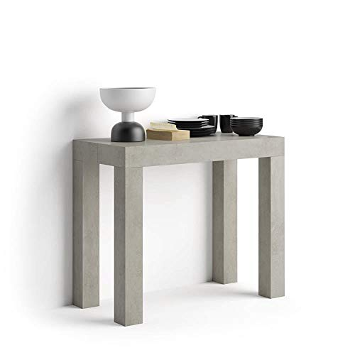 Mobili Fiver, Table Console Extensible First, Béton, 90 x 45 x 76 cm, Made in Italy