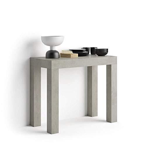 Mobili Fiver, Tavolo Consolle Allungabile First, Cemento, 90 x 45 x 76 cm, Nobilitato/Alluminio, Made in Italy, Disponibile in Vari Colori