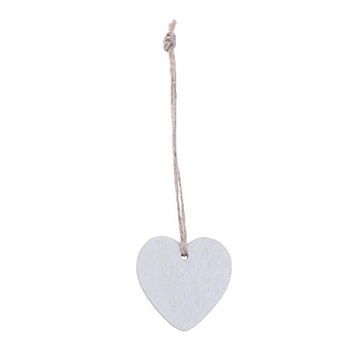 Demiawaking 10Pcs Wooden Heart Embellishments 40mm Craft Shapes Hanging DIY Ornaments Pendant with Natural Twine for Party Bedroom Home Decoration (White)