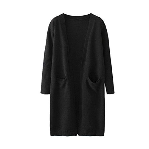 YOUJIA Femmes Cardigan Pullover Pull Jacket en Tricot de Plaine Sweater Maille Top Gilet Chandail Veste avec Poche Noir