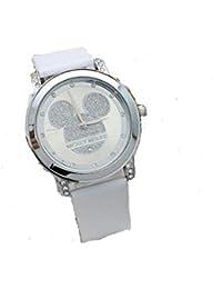 5366dc3fad68 GIO388 Reloj Mickey Mouse Cuarzo Cristal Correas Cuero Resistencia al Agua  Analógico Mujeres Niñas (Blanco