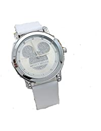 GIO388 Reloj Mickey Mouse Cuarzo Cristal Correas Cuero Resistencia al Agua Analógico Mujeres Niñas (Blanco