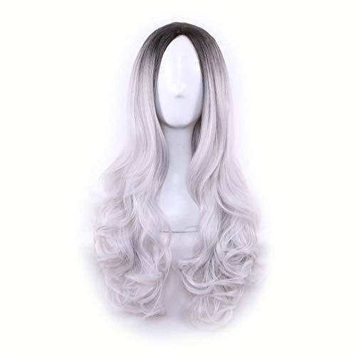 Synthetisches Perückenhaar, charmante Farbverlauf lange lockige Frauenhaarperücke gefärbt synthetisches Haarteil schwarz + grau (Halloween-kostüme Gut Aussehende Männliche)