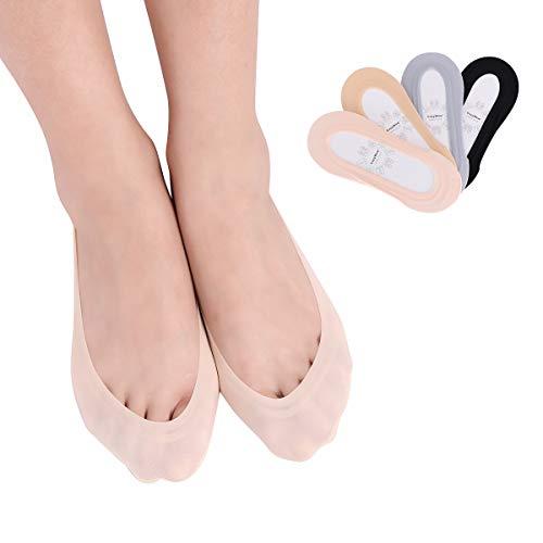 CozyWow 4 Paare Füßlinge Damen unsichtbar Sneakersocken Ballerina Socken No Show Socken Baumwolle und Eisseide Füsslinge mit Rutschfester Silikonring (4 Farbe, 35-38)