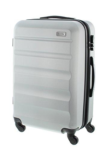 100% ABS Hartschalen Koffer / Trolley mit 4 Rollen und Zahlenschloss 3 Farben, Pianeta Serie London (70cm (XL) Silber)