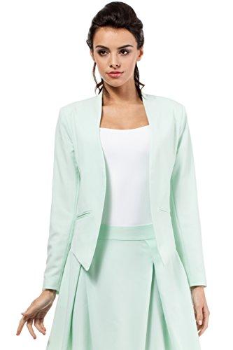 MOE Business Jacke Blazer Sakko Sacco Damenjacke Damenblazer in Pastellfarben, Größe 42, Minze (Blazer Mint)